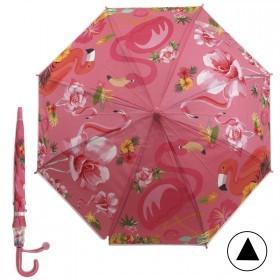 Зонт детский RST-046,    R=48см,    полуавт;    8спиц-сталь;    трость;    полиэтилен,    розовый    (фламинго)