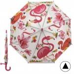 Зонт детский RST-046,    R=48см,    полуавт;    8спиц-сталь;    трость;    полиэтилен,    св.серый    (фламинго)