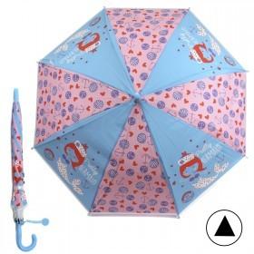 Зонт детский RST-086,    R=48см,    полуавт;    8спиц-сталь;    трость;    полиэтилен,    голубой/розовый    (Русалочка)