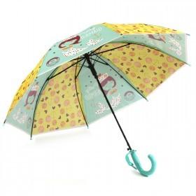 Зонт детский RST-086,    R=48см,    полуавт;    8спиц-сталь;    трость;    полиэтилен,    желтый/св.зеленый    (Русалочка)