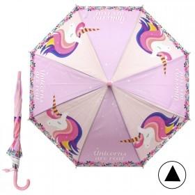 Зонт детский RST-083,    R=48см,    полуавт;    8спиц-сталь;    трость;    полиэтилен,    св.розовый/бежевый    (Единорог)