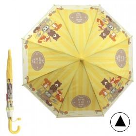 Зонт детский RST-083,    R=48см,    полуавт;    8спиц-сталь;    трость;    полиэтилен,    желтый    (Животные)