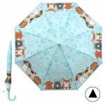 Зонт детский RST-083,    R=48см,    полуавт;    8спиц-сталь;    трость;    полиэтилен,    голубой    (Собачки)