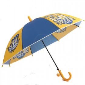 Зонт детский RST-045,    R=48см,    полуавт;    8спиц-сталь;    трость;    полиэтилен,    синий/желтый    (Футбол)