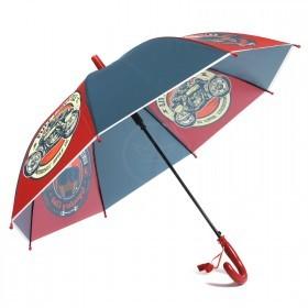 Зонт детский RST-045,    R=48см,    полуавт;    8спиц-сталь;    трость;    полиэтилен,    т.синий/красный    (Мотогонки)
