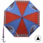 Зонт детский RST-045,    R=48см,    полуавт;    8спиц-сталь;    трость;    полиэтилен,    синий/красный    (Мотогонки)