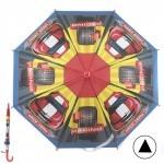 Зонт детский RST-045,    R=48см,    полуавт;    8спиц-сталь;    трость;    полиэтилен,    красный/желтый/синий    (Автогонки)