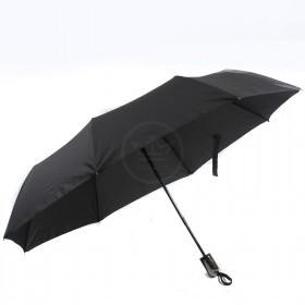 Зонт муж RST-3012,    R=55см,    полуавт;    8 спиц-сталь+fiber,    3слож,    полиэстер,    черный
