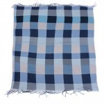 Платок головной 100*100см хлопок 50%,    бамбук 50% плетение хлопок,    голубой    (клетка)