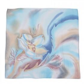 Платок шейный 70*70см шифон 100%,  плетение  шифон,  (цветок)  голубой 218857