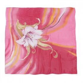 Платок шейный 70*70см шифон 100%,  плетение  шифон,  (цветок)  фуксия 218858