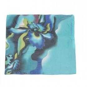 Платок шейный 70*70см шифон 100%,    плетение  шифон,      (цветок)    бирюзовый