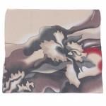 Платок шейный 70*70см шифон 100%,    плетение  шифон,      (цветок)    серый/бежевый