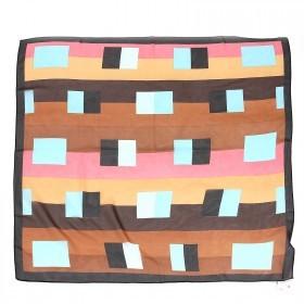 Платок шейный 70*70см шифон 100%,    плетение  шифон,      (геометрия)    коричневый/голуб