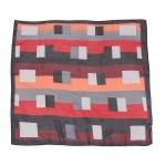 Платок шейный 70*70см шифон 100%,    плетение  шифон,      (геометрия)    черный/красный