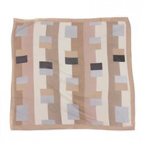 Платок шейный 70*70см шифон 100%,    плетение  шифон,      (геометрия)    бежевый