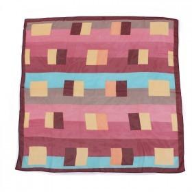 Платок шейный 70*70см шифон 100%,    плетение  шифон,      (геометрия)    бордо/розовый