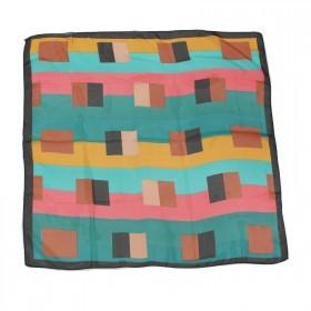 Платок шейный 70*70см шифон 100%,    плетение  шифон,      (геометрия)    зеленый/розовый