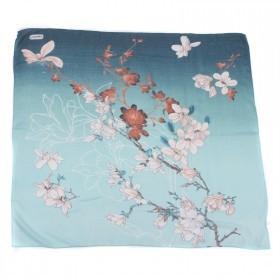 Платок головной 90*90см,    хлопок 50%,    лён 20%,    бамбук 30%  плетение хлопок,       (цветы)    зеленый
