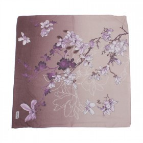 Платок головной 90*90см,    хлопок 50%,    лён 20%,    бамбук 30%  плетение хлопок,       (цветы)    коричневый