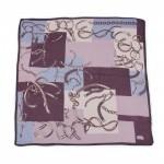 Платок головной 90*90см,    хлопок 50%,    лен 20%,    бамбук 30%,    плетение хлопок,       (цепи)    фиолетовый
