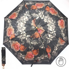 Зонт женский PS-6816-03,    R=53см,    механика;    8спиц-сталь;    3слож;    полиэстер,    черный с розами