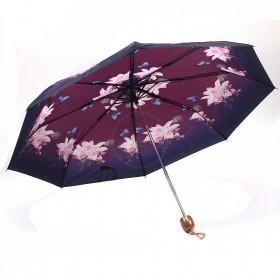 Зонт женский PS-6816-03,    R=53см,    механика;    8спиц-сталь;    3слож;    полиэстер,    фиолетовый    (бабочки)