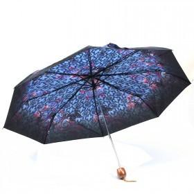 Зонт женский PS-6816-03,    R=53см,    механика;    8спиц-сталь;    3слож;    полиэстер,    синий    (бабочки)