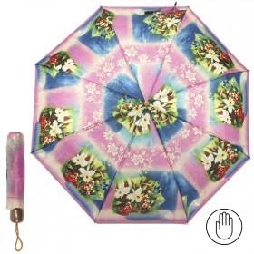 Зонт женский PS-6816-03,    R=53см,    механика;    8спиц-сталь;    3слож;    полиэстер,    синий/розовый    (цветы)