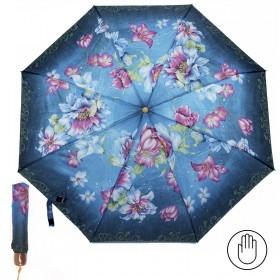 Зонт женский PS-6816-03,    R=53см,    механика;    8спиц-сталь;    3слож;    полиэстер,    синий    (цветы)