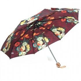 Зонт женский PS-6816-03,    R=53см,    механика;    8спиц-сталь;    3слож;    полиэстер,    бордовый    (цветы)