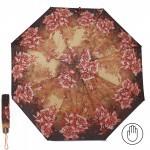 Зонт женский PS-6816-03,    R=53см,    механика;    8спиц-сталь;    3слож;    полиэстер,    коричневый/желтый