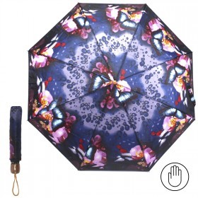 Зонт женский PS-6816-03,    R=53см,    механика;    8спиц-сталь;    3слож;    полиэстер,    синий    (капли)