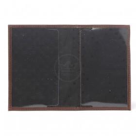 Обложка для паспорта Premier-О-81   (подклад,    внеш доп карм)    натуральная кожа коричневый друид   (8)