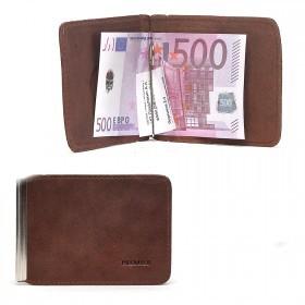 Зажим для купюр Premier-Z-3 натуральная кожа    (зажим-скрепка,    внешний карман д/карт)    коричневый друид   (8)