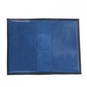 Обложка для паспорта Croco-П-400 натуральная кожа синий металлик   (231)