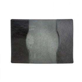 Обложка для паспорта Croco-П-407 натуральная кожа черный кулаты   (140)