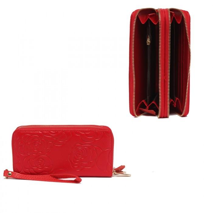 Кошелек женский натуральная кожа 911-2, на 2 молнии+ручка/петля, 7отд+8карм, (внутри иск/к) роза, красный 221854
