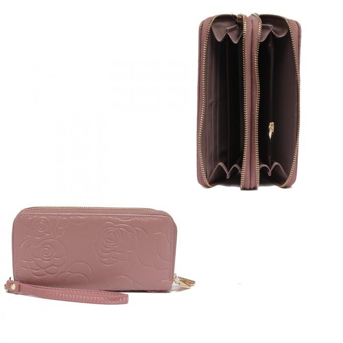 Кошелек женский натуральная кожа 911-2, на 2 молнии+ручка/петля, 7отд+8карм, (внутри иск/к) роза, розовый 221855