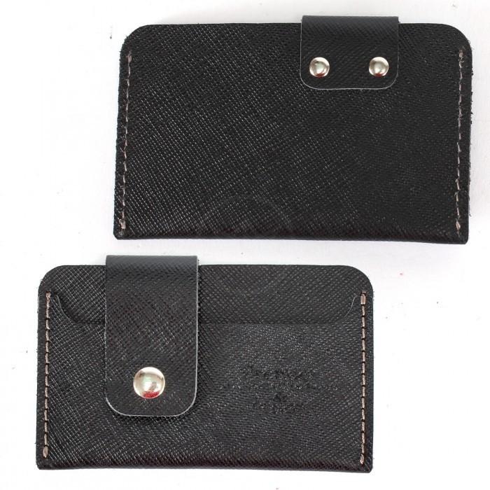 Футляр для карточек с хлястиком Premier-V-940 натуральная кожа черный сафьян матовый (589) 228972