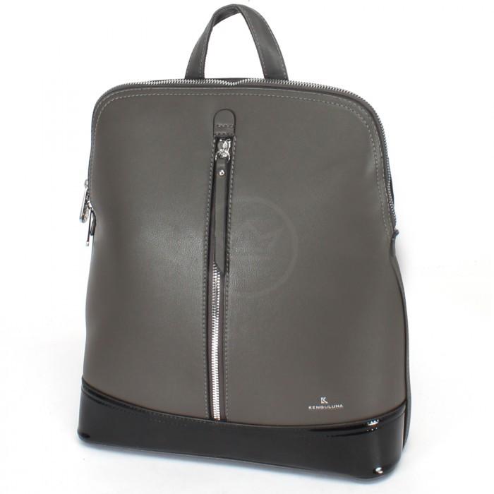 Сумка женская искусственная кожа Kenguluna-89808 (рюкзак), 1отд+еврокарман, серый 230383